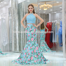 2017 new mermaid floral formal evening dress 2pcs halter light blue elegant latest evening dresses for fat ladies