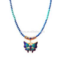 Moda azul verde pedra 24k banhado a ouro esmalte borboleta pingente de colar