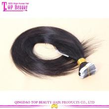 Fábrica de cabelo Qingdao atacado melhor qualidade barato 100% extensões de cabelo fita brasileira virgem