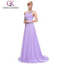 Grace Karin Moda De Las Mujeres Una Sirena De Hombro Larga De Lana Con Prom Vestido De Lila CL2949-8