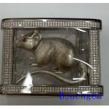 Chinese Zodiac Rat Sterling Silver Belt Buckle for Man