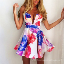 Popular Deep V-Neck Backless Straps Sexy Mini Party Dress (58961)