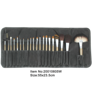 20pcs ivory plastic handle animal/nylon hair makeup brush tool set with Stitching black canvas case