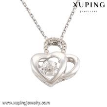 Collier-00085 Mode élégant diamant CZ double cœur plaqué rhodium-imitation pendentif bijoux