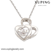 Necklace-00085 Fashion Elegant CZ Diamond Double Heart Rhodium-Plated Imitation Jewelry Pendant Necklace