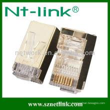 Золотое покрытие stp 8p8c rj45 modular plug