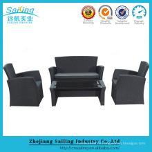 Wicker Rattan Garden Set Крытый Открытый диван Lounge Мебель для диванов для спальни Черный