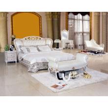 Nueva cama de cuero blanco clásico (8085)