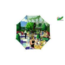 Two layer customized digital printing branded logo umbrellas, automatic luxury inside design double layer golf umbrella