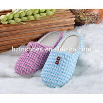 Tricoter en haut avec des boutons fermés toe dame pantoufle TPR semelle intérieure maison chaussures