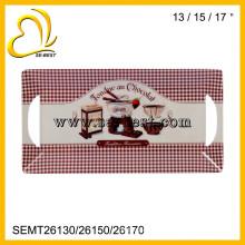 3 tamanhos de conjuntos de bandeja de servir de melamina com alças