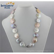 Collier de perles colorées à la mode AA 20mm Coin Pearl Necklace