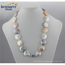 Fashion Colorful Pearl Necklace AA 20mm Coin Pearl Necklace