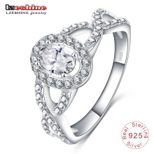 Plata de ley 925 con anillo de piedras preciosas ovaladas (SRI0014-B)