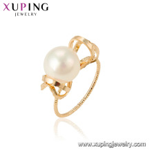 15461 xuping joyería de moda último diseño elegante estilo anillo de perlas de imitación para mujeres