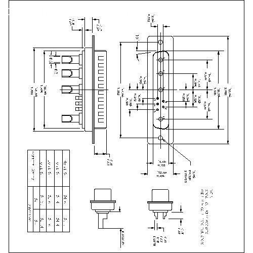 PDB9W4-MXXX POWER D-SUB 9W4 SOLDER CUP-MALE