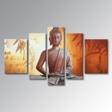 Pintura al óleo pintada a mano de Buda en arte abstracto de la decoración del arte de la pared de la lona