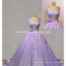 Hot Sale New Design Sexy See Through Back Wedding Dress purple evening gown