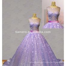 Hot Sale New Design Sexy Veja através do vestido de casamento de volta vestido de noite roxo