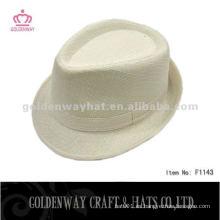 Moda blanco poliéster fedora sombrero barato para la venta al por mayor