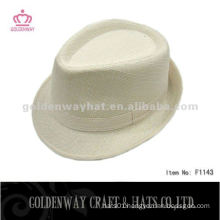 Fashion white polyester fedora hat cheap for wholesale