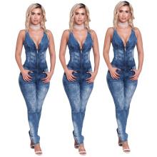 Good Quantity Sexy Sleeveless Back Cutout Jumpsuit Tight Jeans Slim