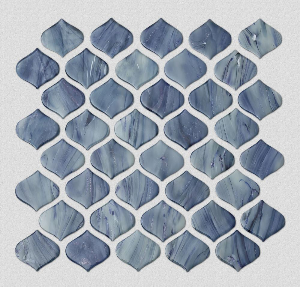 Blue Arabesque Waterdrop Shape Glass Mosaic Tile