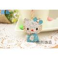 Creative men and women gifts cute hello kitty cat rhinestone Keychain fashion bag hanger crystal keyring