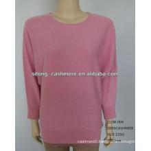 55%silk 45%Cashmere round neck women pullover