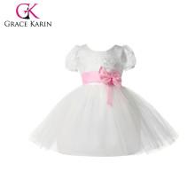 Grace Karin Pink Bowknot Waistband Cheap Princess Flower Girls Dresses With Short Sleeve CL4610