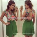 Heiße verkaufende Sommerentwurf sleeveless grüne Farbe Frauen Kleid floral geschnürt rückenfreie Frauen Kleid Modell