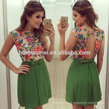 Vente chaude d'été conception sans manches couleur verte femmes robe floral dos nu femmes robe modèle