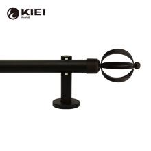 KIEI matte black flexible design diverge 28mm round finials motorized install hinge minimalist swivel curtain double rods