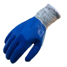 NMSAFETY azul nitrilo completamente revestido luvas anti-corte para construção