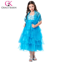 Grace Karin Spaghetti Straps Flower Girl Princess Sky blue Pageant Cake Dress CL010404-2