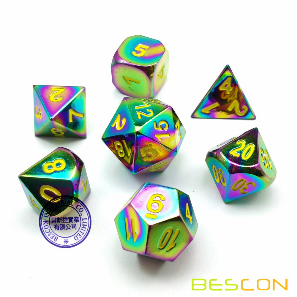 Bescon Fantasy Rainbow Solid Metal Dice Set of 7, Heavy Duty Rainbow Metallic Polyhedral D&D Role Playing Game Dice