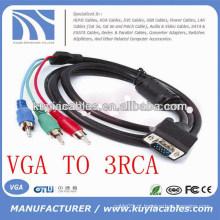 VGA DE ALTA VELOCIDADE A 3RCA CABO M / M PARA PC TV 1.5M