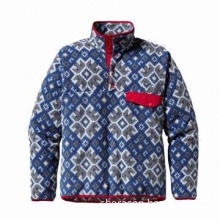 Men's Lightweight Fleece Pullover, Double-faced Polyester Fleece, Spandex Trim, Snap Placket