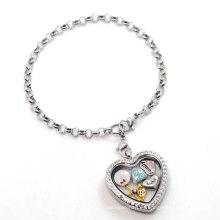 Pulsera de cadena de plata de la perla del corazón, último diseño de pulsera flotante personalizado de lujo de los encantos