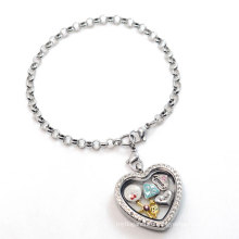 Silver heart pearl chain bracelet, fancy latest custom floating charms bracelet design