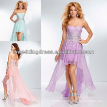 HE2099 Mint with chiffon fly away sirt front short back long evening dress