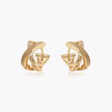 96909 xuping design unique pas cher 18 carats couleur or lettré conception mode dames boucles d'oreilles