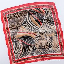 Wild Sexy Red Leopard Satin Stripe Small Silk Neckwear