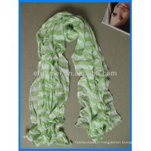 Coton écharpe vert et blanc teint au fil
