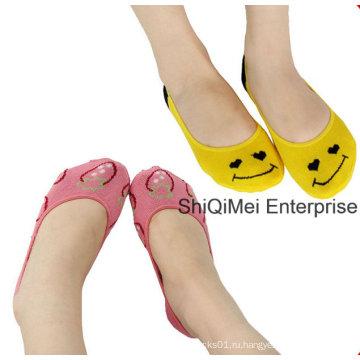 Оптовая пользовательских жаккард гребенная невидимый носки хлопка женщин