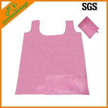pink 190T foldable T-shirt shopping bag