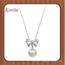 Fashion New Design Collier perle véritable collier bowknot et pearl pendentif