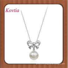 fashion new design real pearl necklace bowknot and pearl pendant necklace