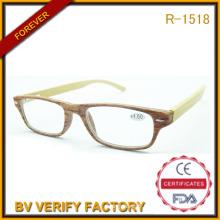2016 populaire concepteur lunettes montures lunettes de lecture en plastique avec Temple de bambou
