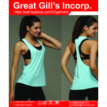 2016 Großhandel benutzerdefinierte schlichte 100 Baumwolle Frauen Fitnessstudio Yoga Workout lose Tanktops